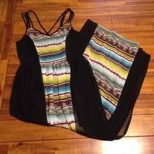Sans Souci Maxi Dress Semi sheer w/ slip and slit.